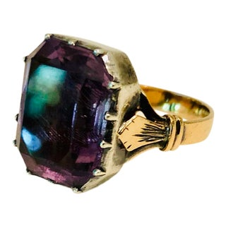 19th Century Victorian Rose De France Amethyst Ring Mounted in 14 Karat Rose Gold and Silver For Sale