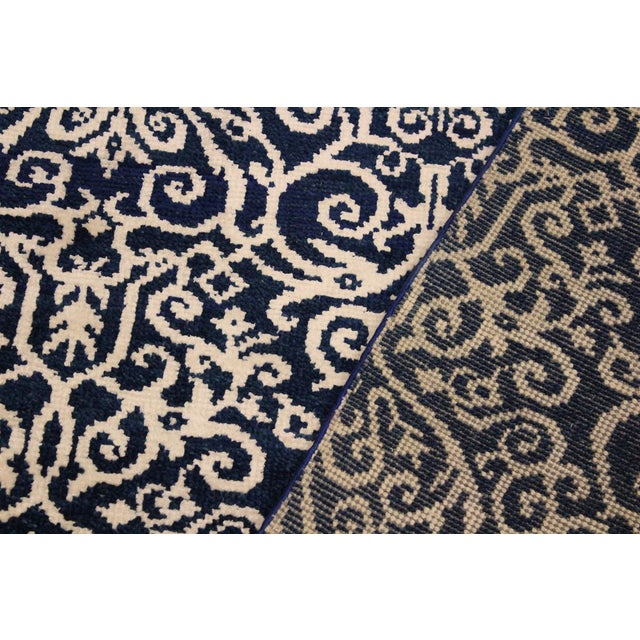 Cryena Modern Yajaira Blue/Ivory Wool & Viscouse Rug - 5'0 X 7'0 For Sale - Image 4 of 8