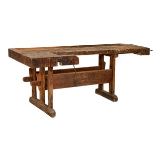 Antique Large Carpenter's Workbench From Denmark With Dark Patina For Sale