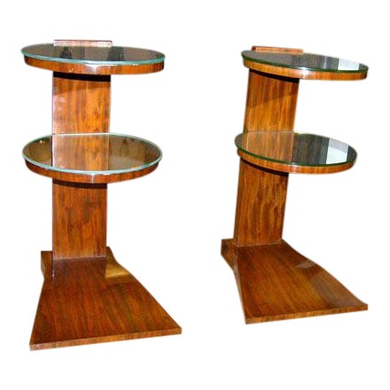 Pair of French Art Deco Mirrored Tables by Jules Leleu For Sale