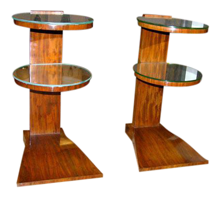 High End Pair Of French Art Deco Mirrored Tables By Jules Leleu | DECASO