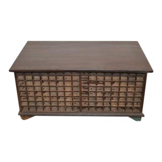 Antique Indian Wooden Trunk For Sale
