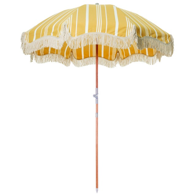 Mid-Century Modern Premium Beach Umbrella - Vintage Yellow Stripe with Fringe For Sale - Image 3 of 3