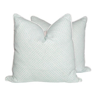 Turquoise Linen Bouvet Quarante Pillows - A Pair