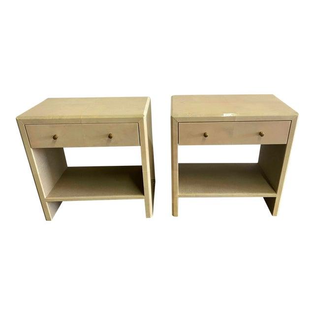 Polished Faux Vellum Bedside Tables For Sale