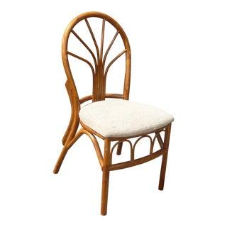 Vintage Mid-Century Modern Bamboo Tiki Palm Beach Style White Chair