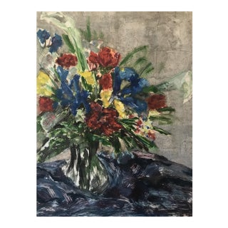 """Bouquet With Tulips "" Colorful Floral Monoprint by Ramsey For Sale"