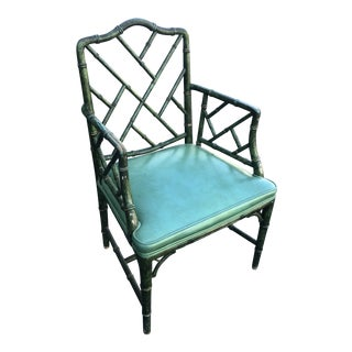 Antique Painted Malachite Arm Chair For Sale