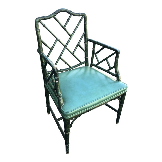 Antique Painted Malachite Arm Chair For Sale