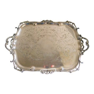 Antique Christofle Hallmarked C.1875 Silverplate Serving Tray For Sale