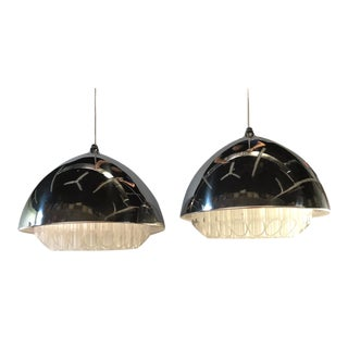 1969 Modern Atomic Age George Nelson Nimbus Aluminum and Lucite Pendants for Nessen Studio - a Pair For Sale