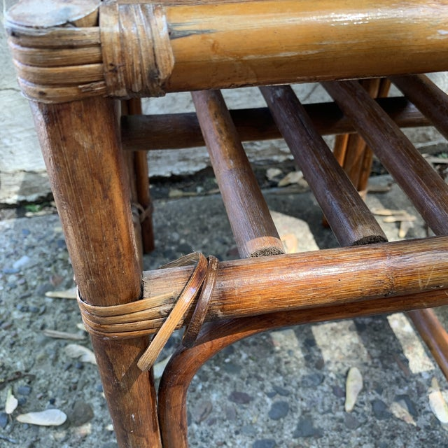 Vintage Rattan and Woven Telephone Bench/ Gossip Table For Sale - Image 4 of 9