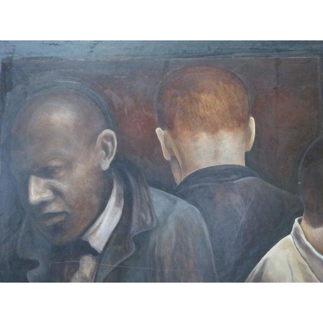 """1990s Modern """"3 Men"""" Portrait Oil Painting Signed Berner 1994 For Sale - Image 5 of 8"""