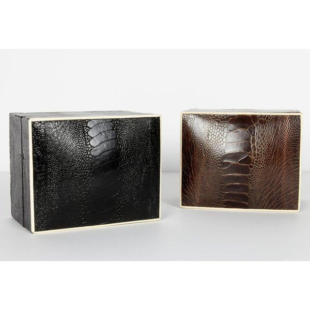 Pair of R & Y Augousti Decorative Boxes in Exotic Ostrich Leather With Bone Inlay For Sale - Image 12 of 13