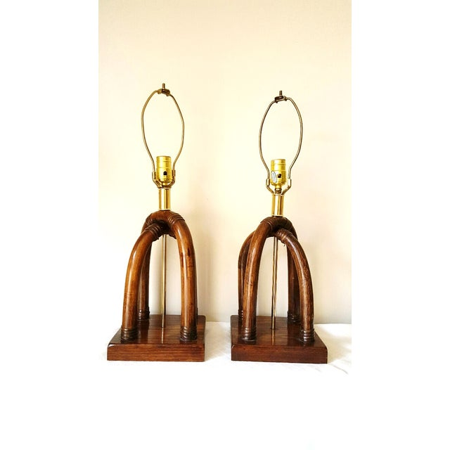 Palm Beach Regency Brass and Rattan Lamps - Pair - Image 2 of 7