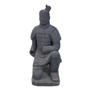 Chinese Qin Dynasty Style Life-Size Kneeling Terra Cotta Soldier Statue For Sale