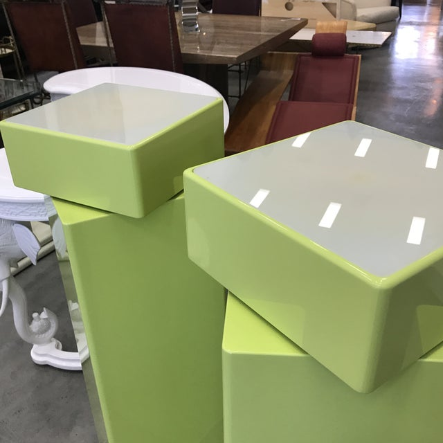 Green 1970s Vintage Illuminated Pedestals - Two Pedestal Different Size For Sale - Image 8 of 12
