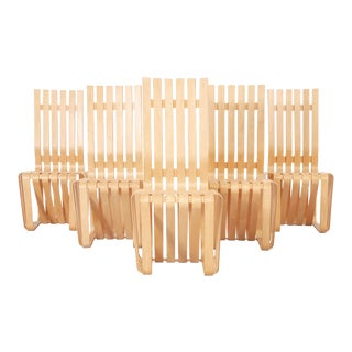 Set of Six Frank Gehry High Sticking Chairs For Sale