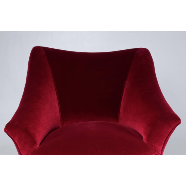 Mid 20th Century Italian Mid-Century Velvet Armchair For Sale - Image 5 of 11