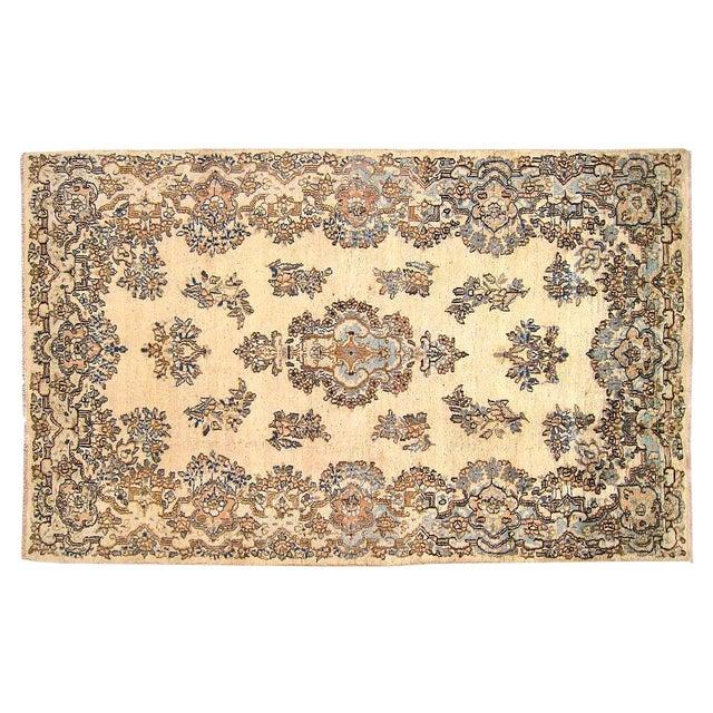 1940s Vintage Persian Kerman Oriental Rug - 4′ × 6′4″ For Sale