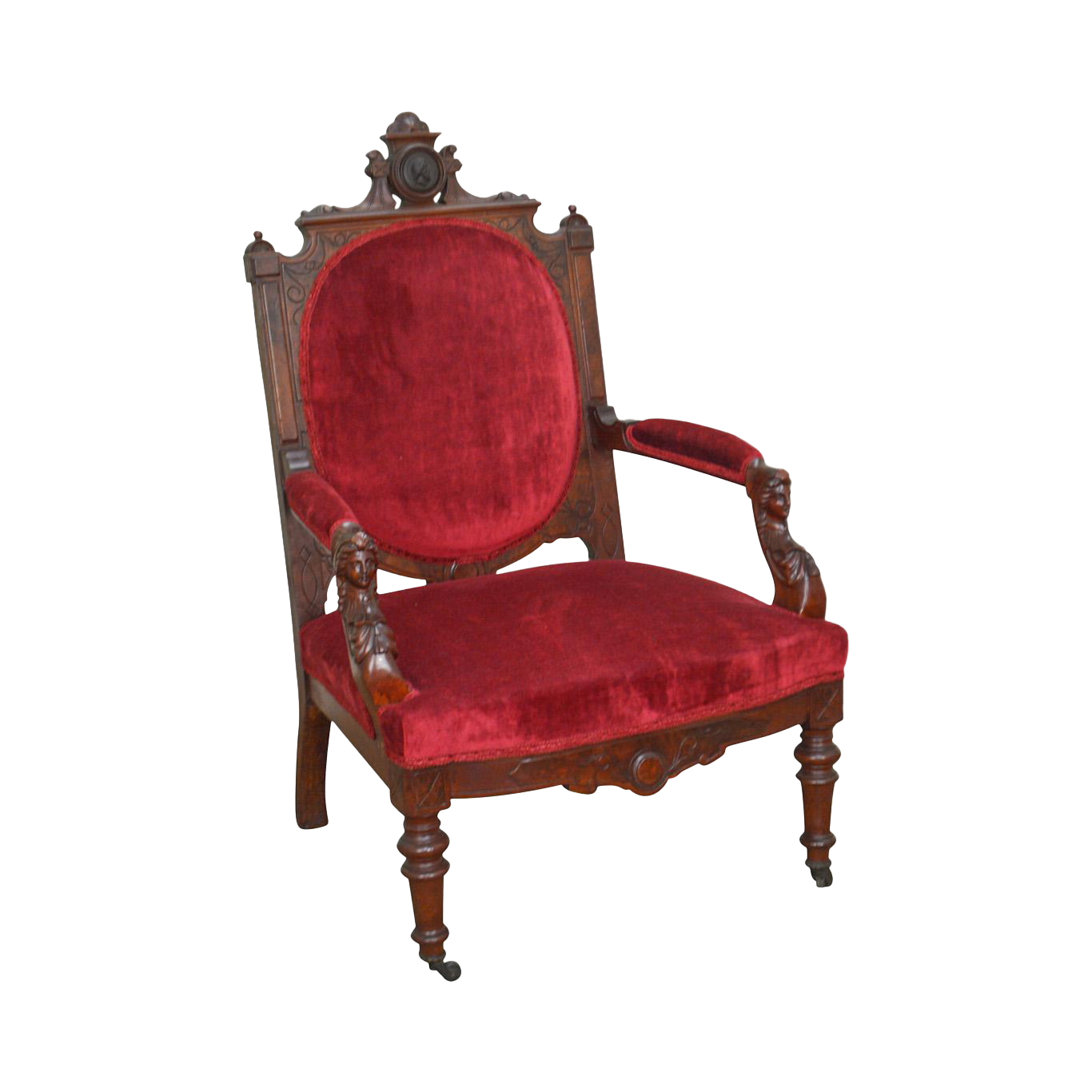 John Jelliff Antique Victorian Renaissance Carved Walnut Arm Chair (A)
