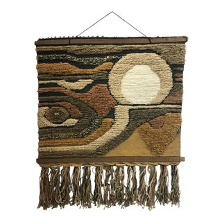 Vintage Mid Century Modern Hand Woven Wool Abstract Wall Hanging 1960's For Sale