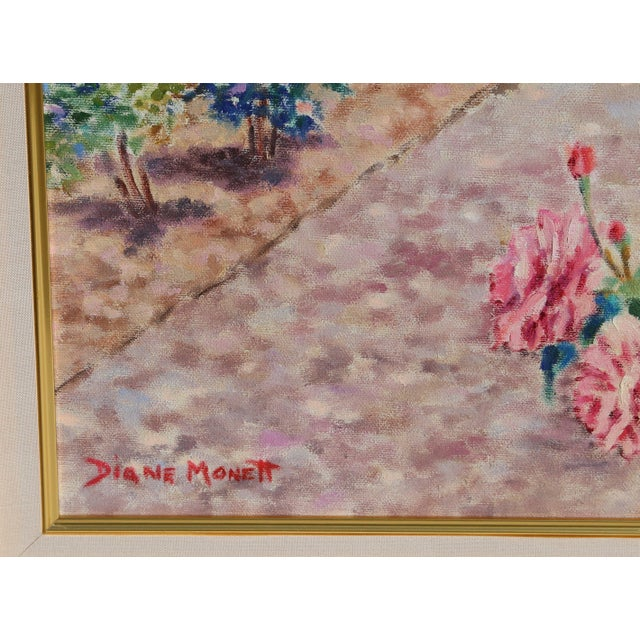 Diane Monet's rose garden landscape is rendered with a light touch and soft hues of color that complement one another. Oil...