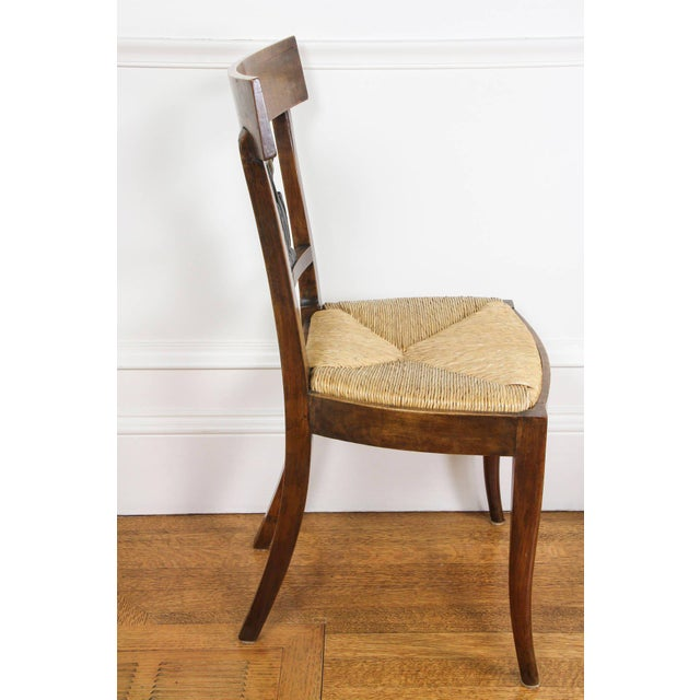 Set of Six Italian Neoclassic Walnut and Ebonized Dining Chairs For Sale In Boston - Image 6 of 10