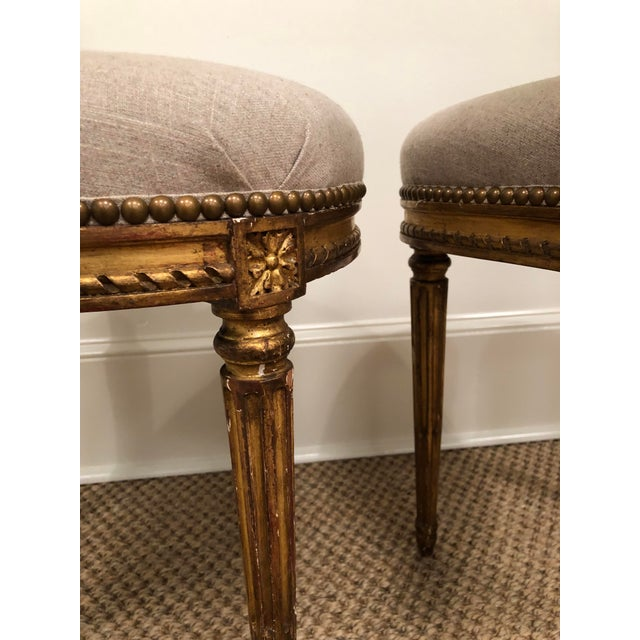 1940s Vintage Gilt French Oval Back Chairs- a Pair For Sale In Little Rock - Image 6 of 10