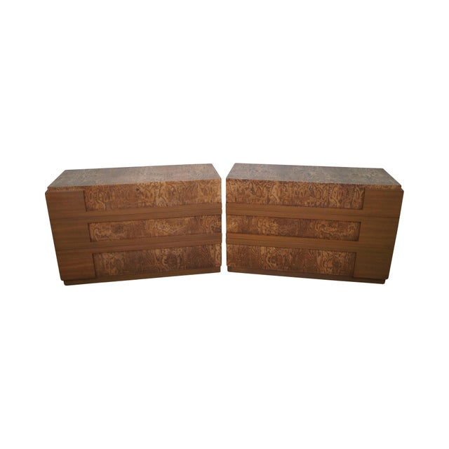 Mid-Century Burl Wood Dressers - A Pair For Sale