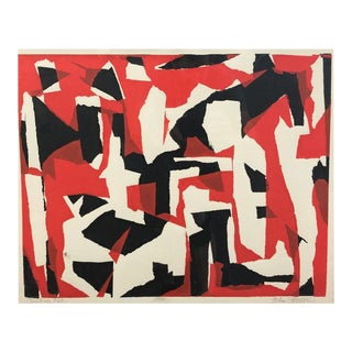 "John Otterson ""Broken Red"" Abstract Serigraph, Signed & Numbered, Early 1950s For Sale"