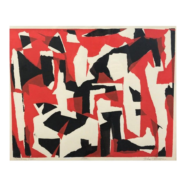 """John Otterson """"Broken Red"""" Abstract Serigraph, Signed & Numbered, Early 1950s For Sale"""