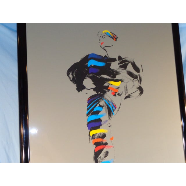 Michel Canetti Lady Framed Silk Screen For Sale - Image 4 of 11