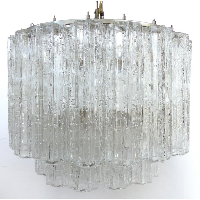 Italian Mid-Century Modern Venini Blown Glass Two Tiered Chandelier For Sale - Image 12 of 12