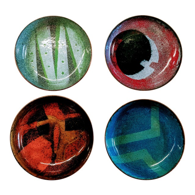 Mid-Century Modern Enamel on Copper Small Bowls - Set of 4 - Image 1 of 7