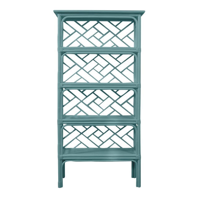 David Francis Furniture for Chairish Chippendale Etagere, Aegean Teal For Sale