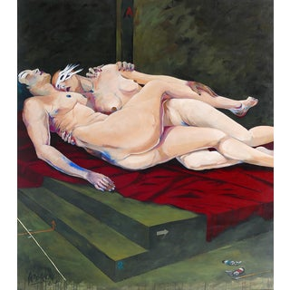 "Jose Maria Ansalone ""Lovers"" Oil Painting on Canvas, Argentine Artist For Sale"