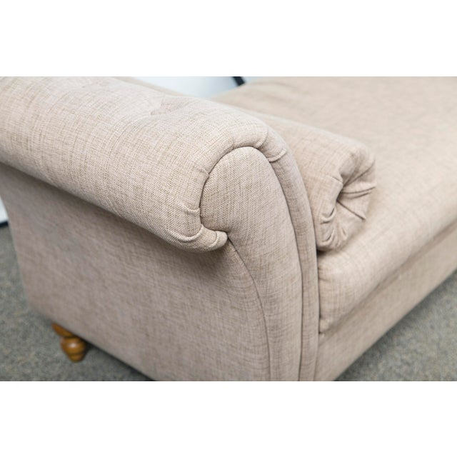 Custom Upholstered Bench With Tufted Rolled Arms For Sale In New York - Image 6 of 7