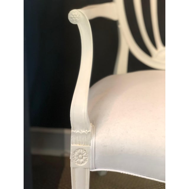 Antique White 1930s Hepplewhite Shield-Back Chairs — a Pair For Sale - Image 8 of 10