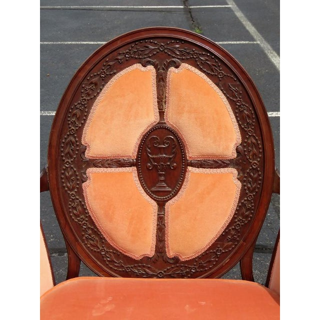 Carved Walnut Upholstered Armchairs - A Pair For Sale In Philadelphia - Image 6 of 8