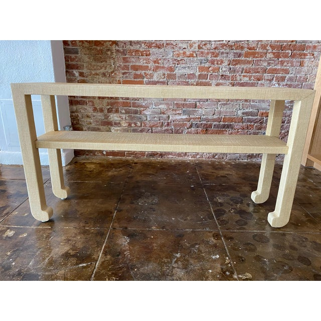 Natural Grasscloth Console For Sale In Los Angeles - Image 6 of 6