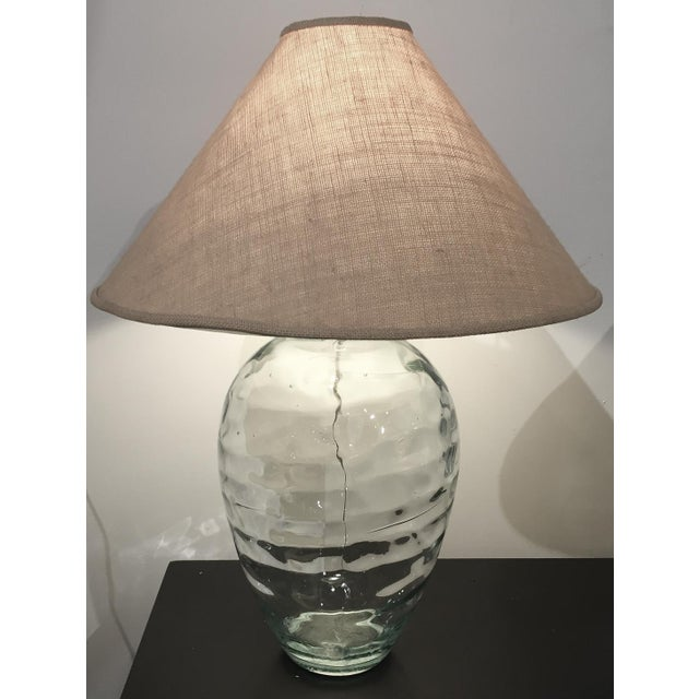 Mid-Century Spanish Clear Glass Lamps - A Pair - Image 3 of 10