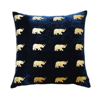 Arusha Blue Velvet Accent Pillow With Rhinos For Sale