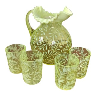 Vintage Fenton Glass Daisy and Fern Pitcher and 4 Glasses