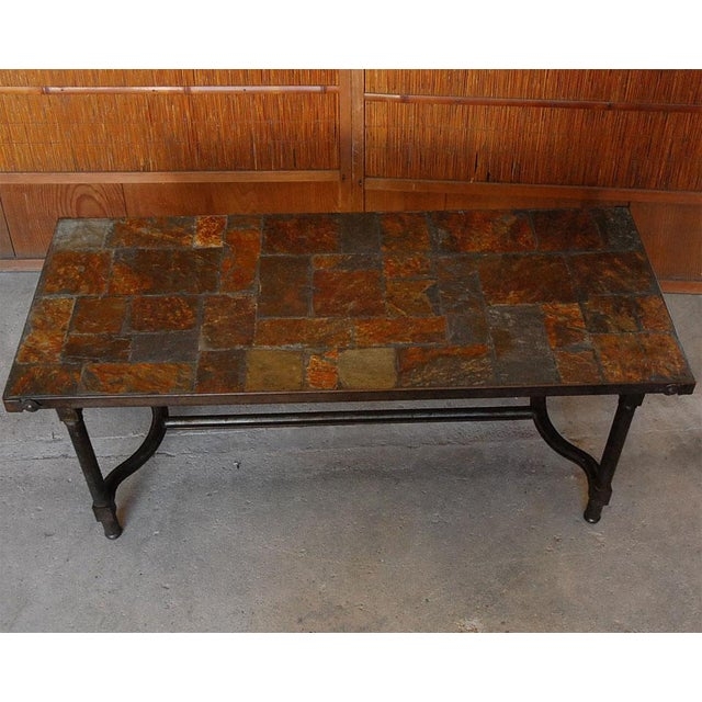 French Jacques Adnet French Mid-Century Slate Coffee Table For Sale - Image 3 of 7