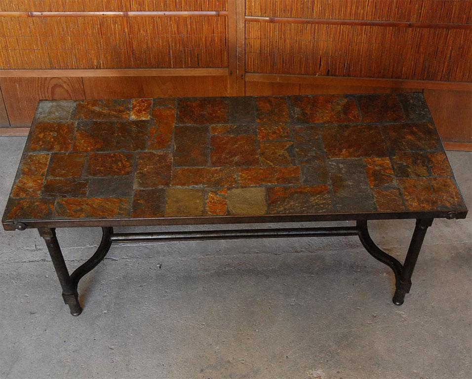 Beau French Jacques Adnet French Mid Century Slate Coffee Table For Sale   Image  3 Of