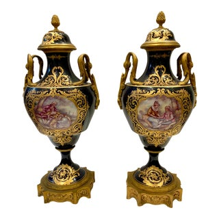 Kalk Porcelain French Sevres Cobalt/Gold Urns With Lids - a Pair For Sale