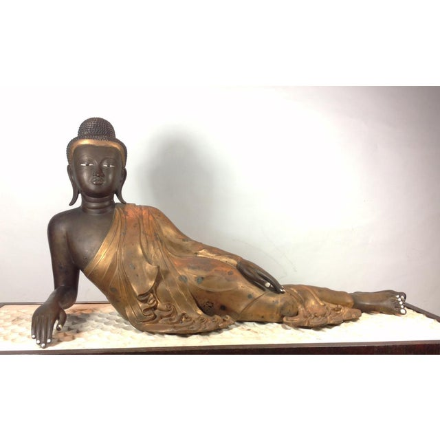 Cast Bronze Reclining Charcoal Buddha For Sale In San Francisco - Image 6 of 6