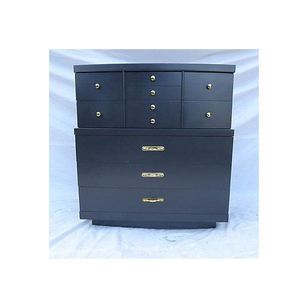 Black Urban Style Step-Down Tall Dresser in Asian Black For Sale - Image 8 of 8