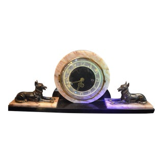 Vintage French Deco Brass Dog With Onyx and Marble Mantel Clock - 3 Piece Set For Sale